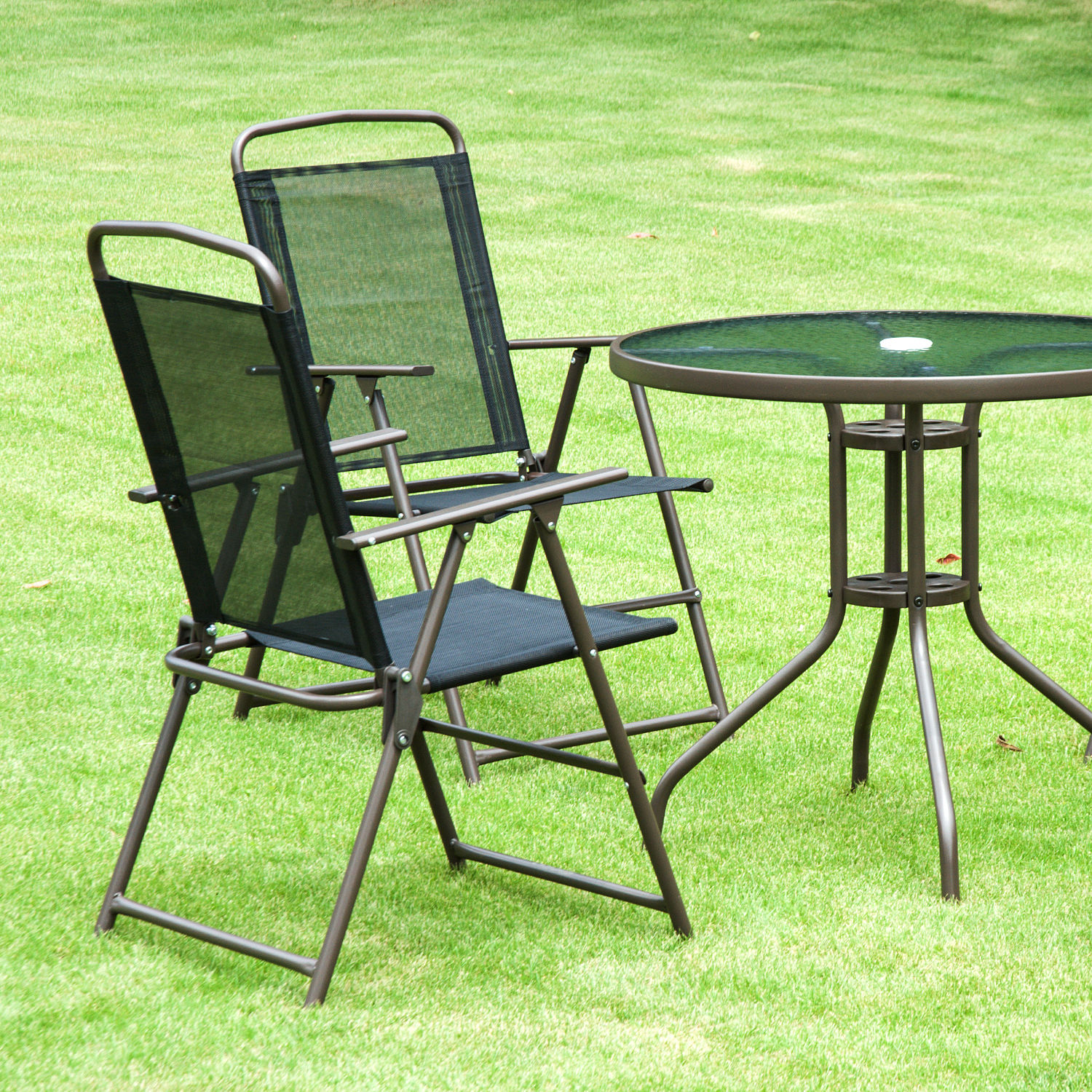 Outsunny Garden Patio Furniture Bistro Set Foldable Chairs ...
