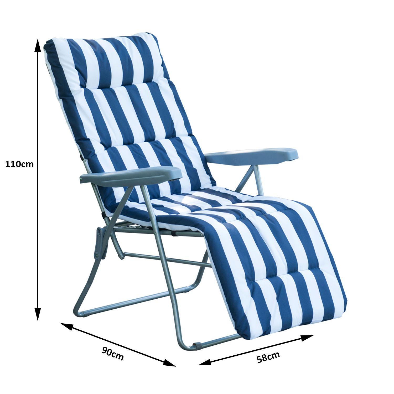 Garden Furniture 2 Folding Sun Lounger Recliner Chairs