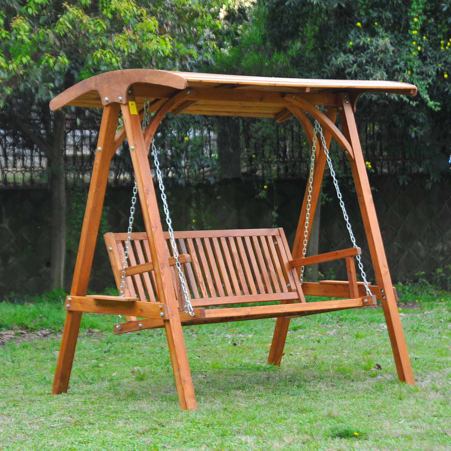 Outdoor Swing Bench: Outsunny Wooden Garden Swing Chair Seat Hammock Bench