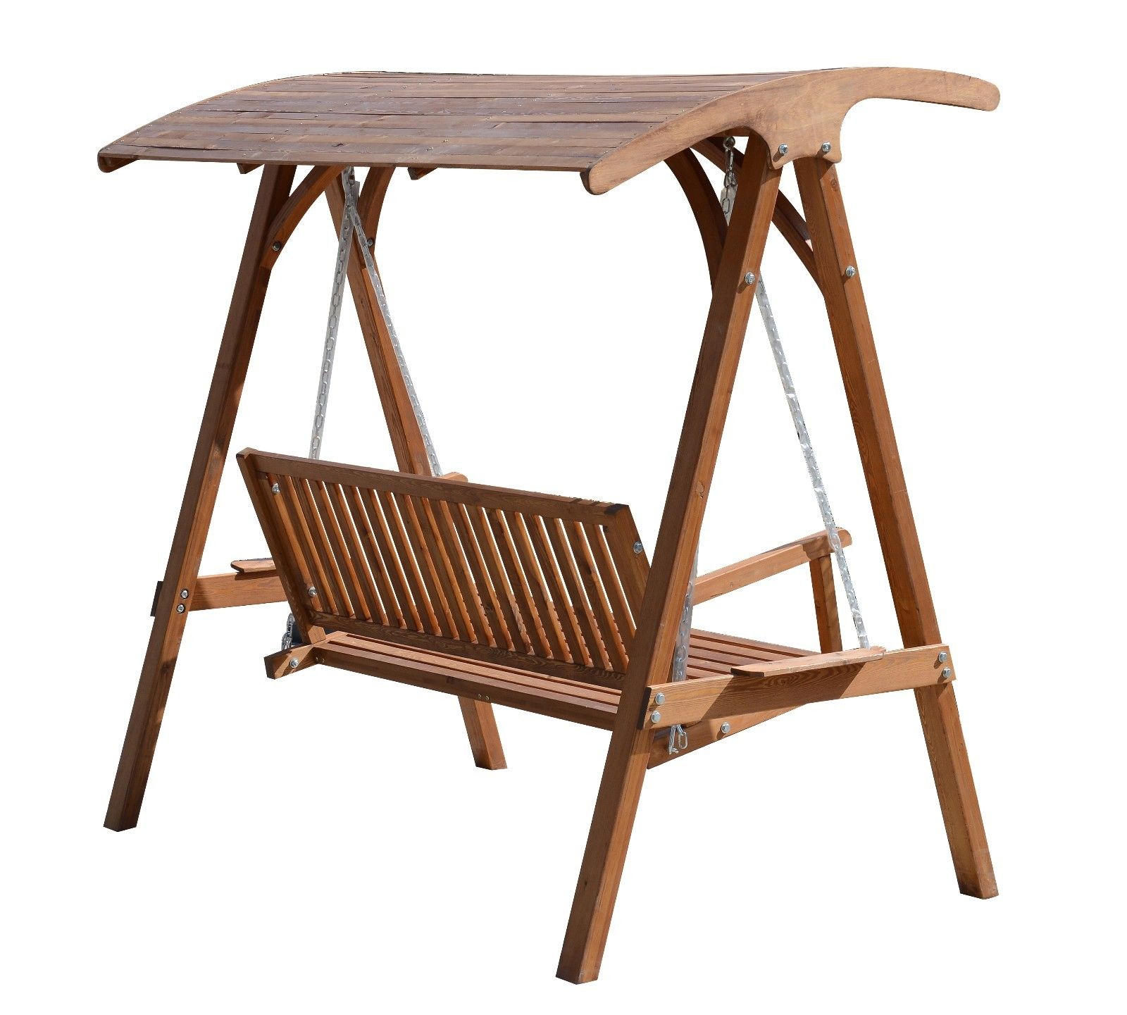 Outsunny Wooden Garden Swing Chair Seat Hammock Bench ...