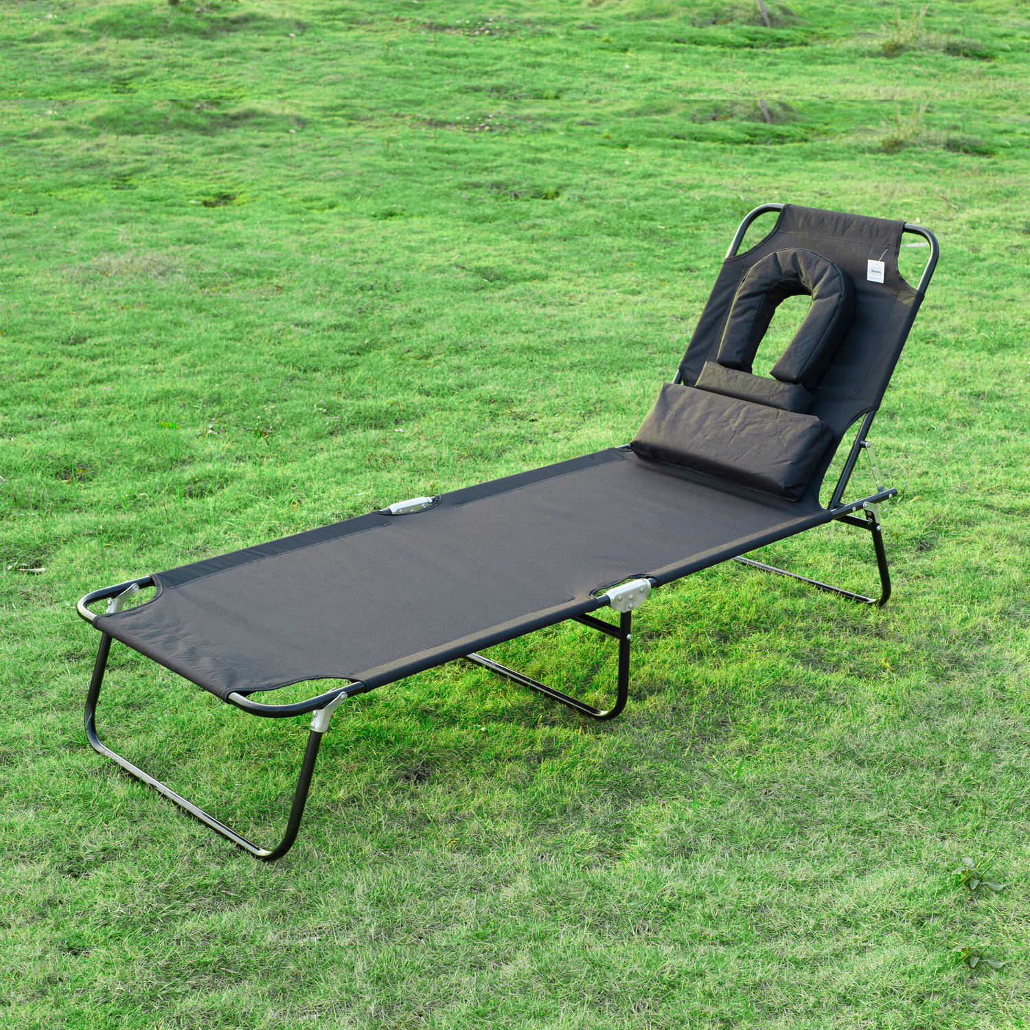 Outsunny 2pc Sun Lounger Reclining Folding Sunbed Chair Bed Head