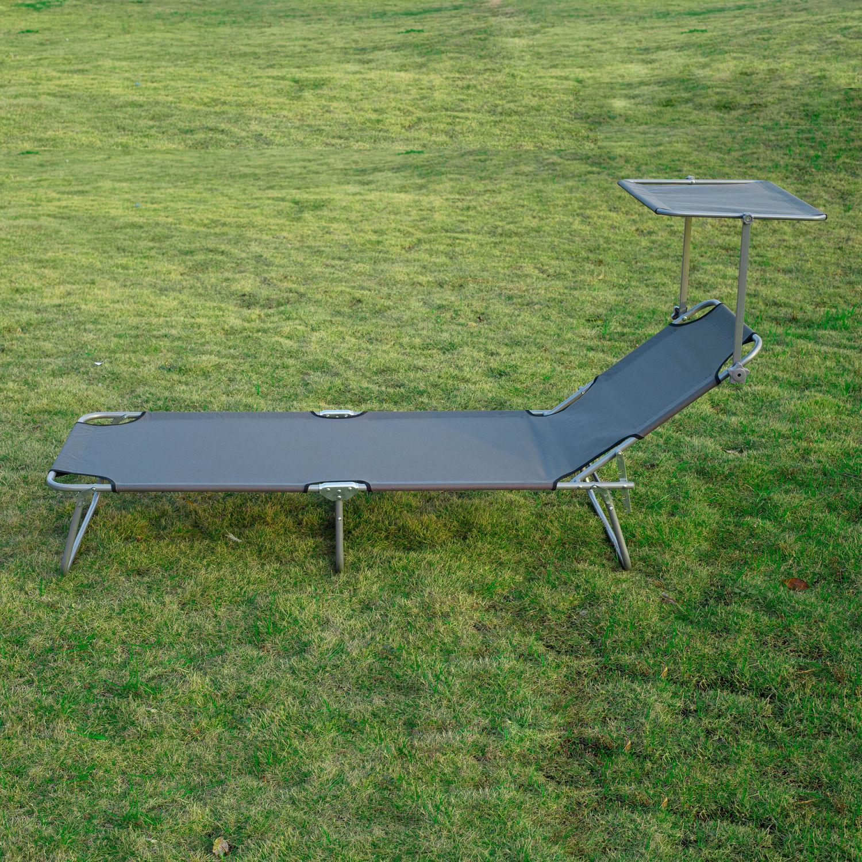2pc Patio Sun Lounger Chair W Sunshade Canopy Garden
