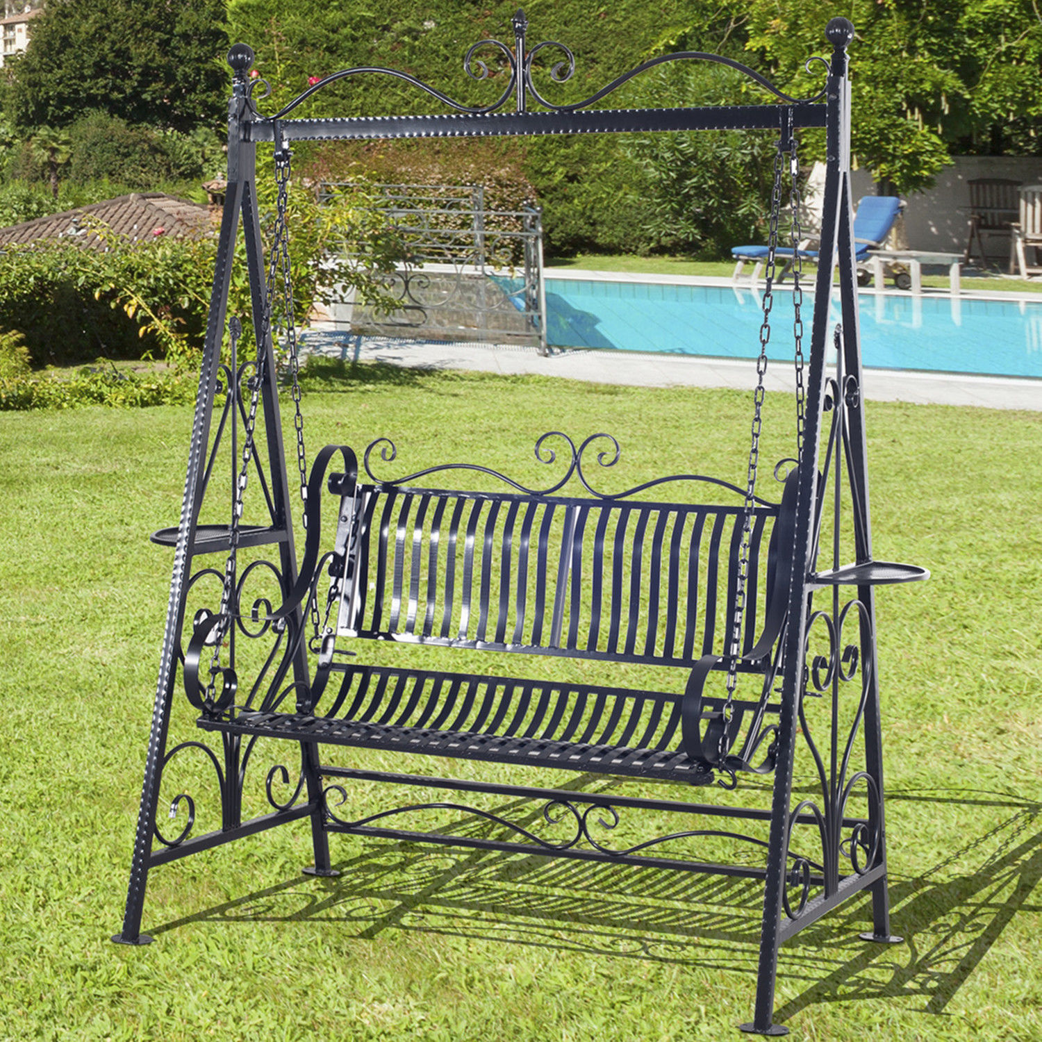 Outsunny Outdoor Metal Swing Chair Garden Hammock Bench