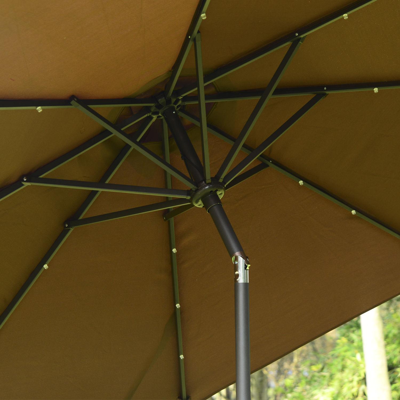 24 LED Parasol Umbrella Solar Powered Chain Light Garden Tilt Crank ...