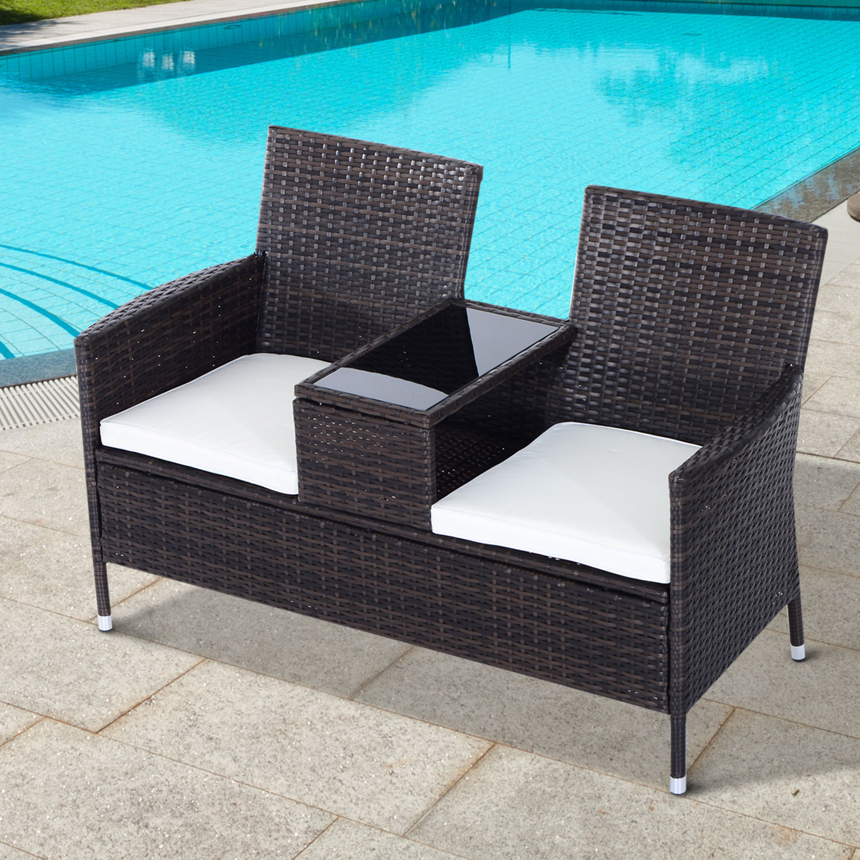 2 seater rattan chair garden furniture wicker patio love seat
