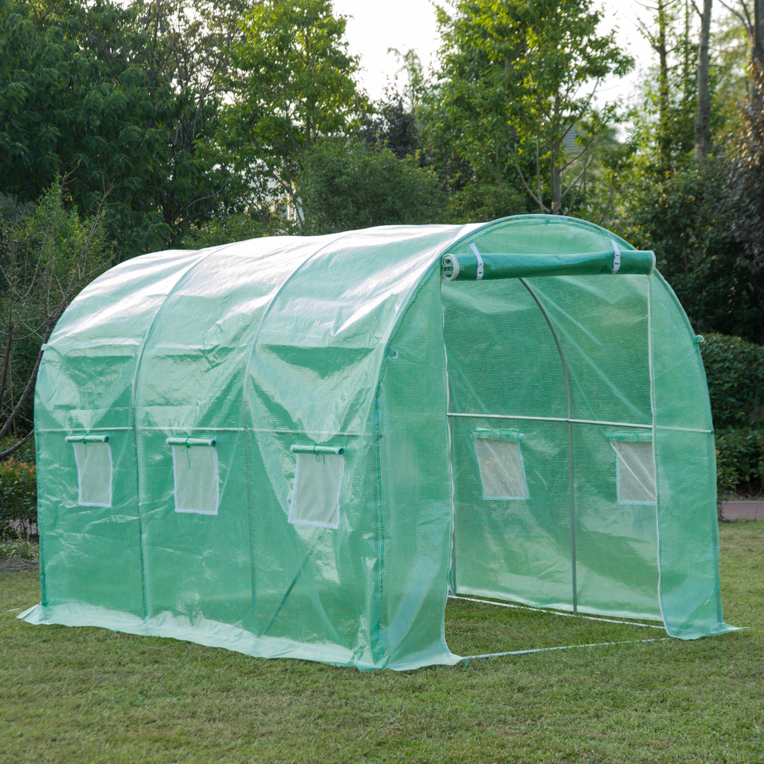 Outsunny Polytunnel Walk In Garden Greenhouse With Zip