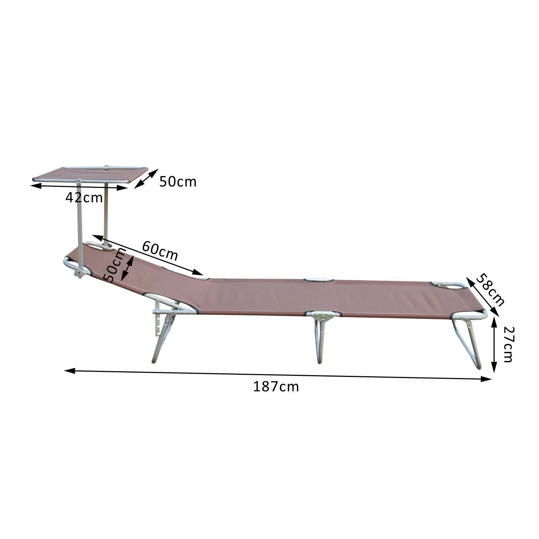 Reclining-Sun-Lounger-Chair-Folding-Recliner-Garden-Adjustable-Patio-W-Sunshade thumbnail 11