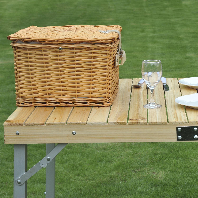 2 or 4 person wicker picnic hamper basket outdoor vintage. Black Bedroom Furniture Sets. Home Design Ideas