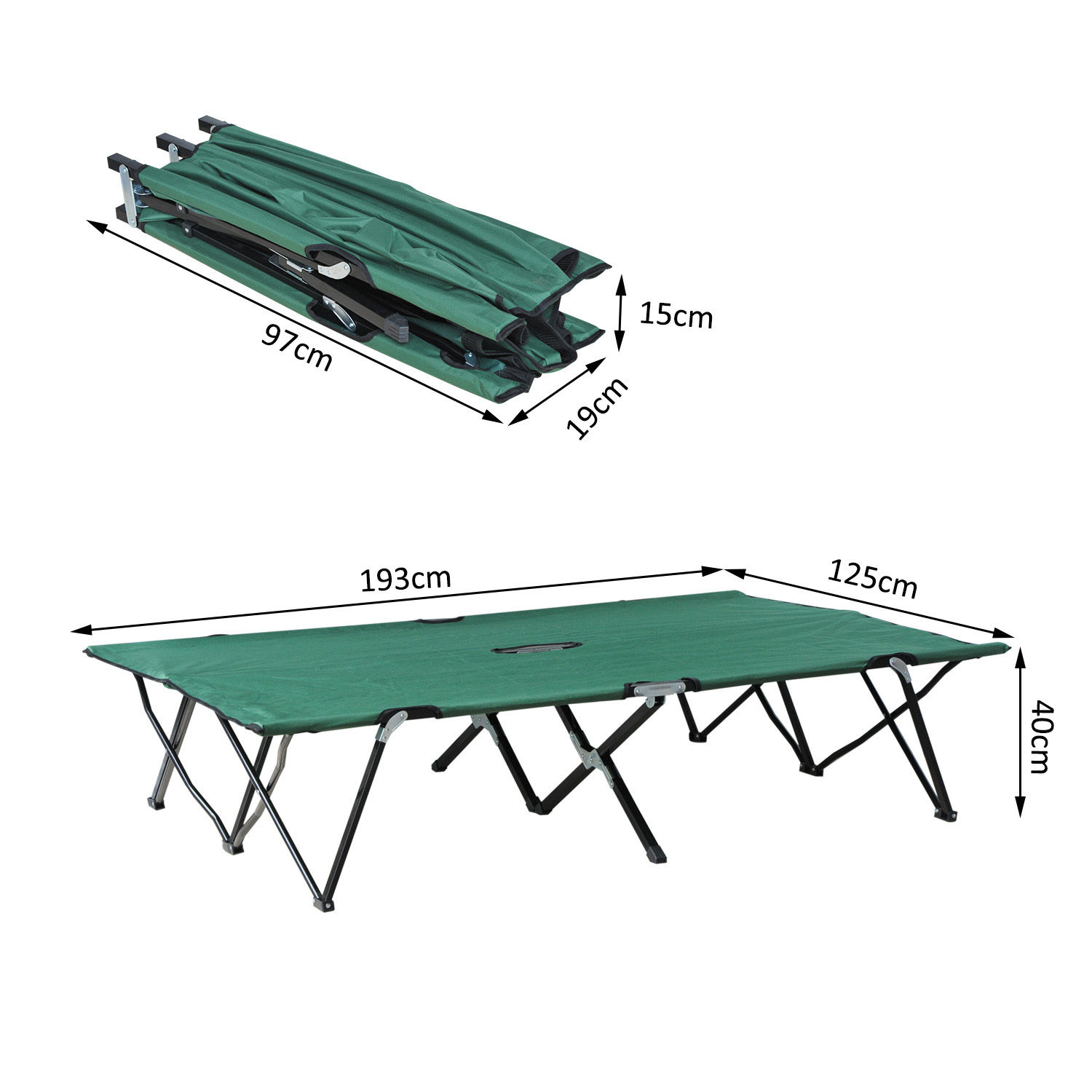 Outsunny 2 Person Double Camping Cot Outdoor Patio Travel