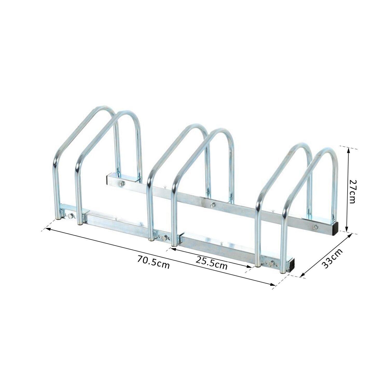 Bicycle-Bike-Parking-Cycle-Floor-Rack-Stand-Storage-Mount-Holder-Steel-Pipe miniature 3