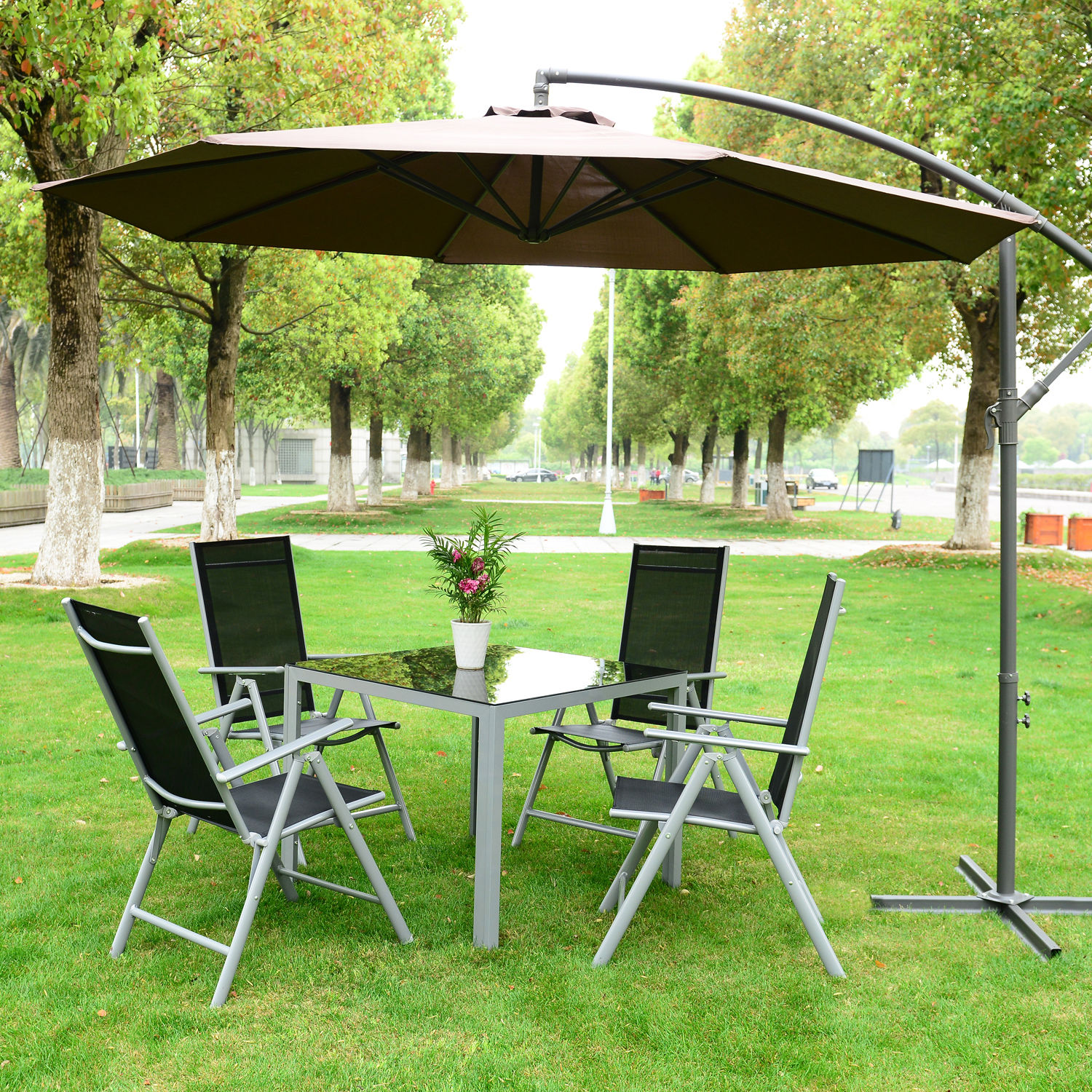 3m Garden Parasol Sun Shade Patio Banana Hanging Rattan Set