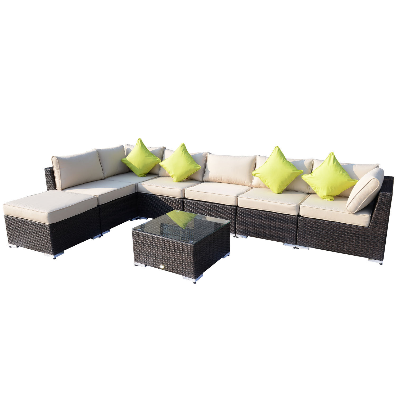 Corner Sofa Set For Garden: Rattan Outdoor Garden Furniture Patio Corner Sofa Set
