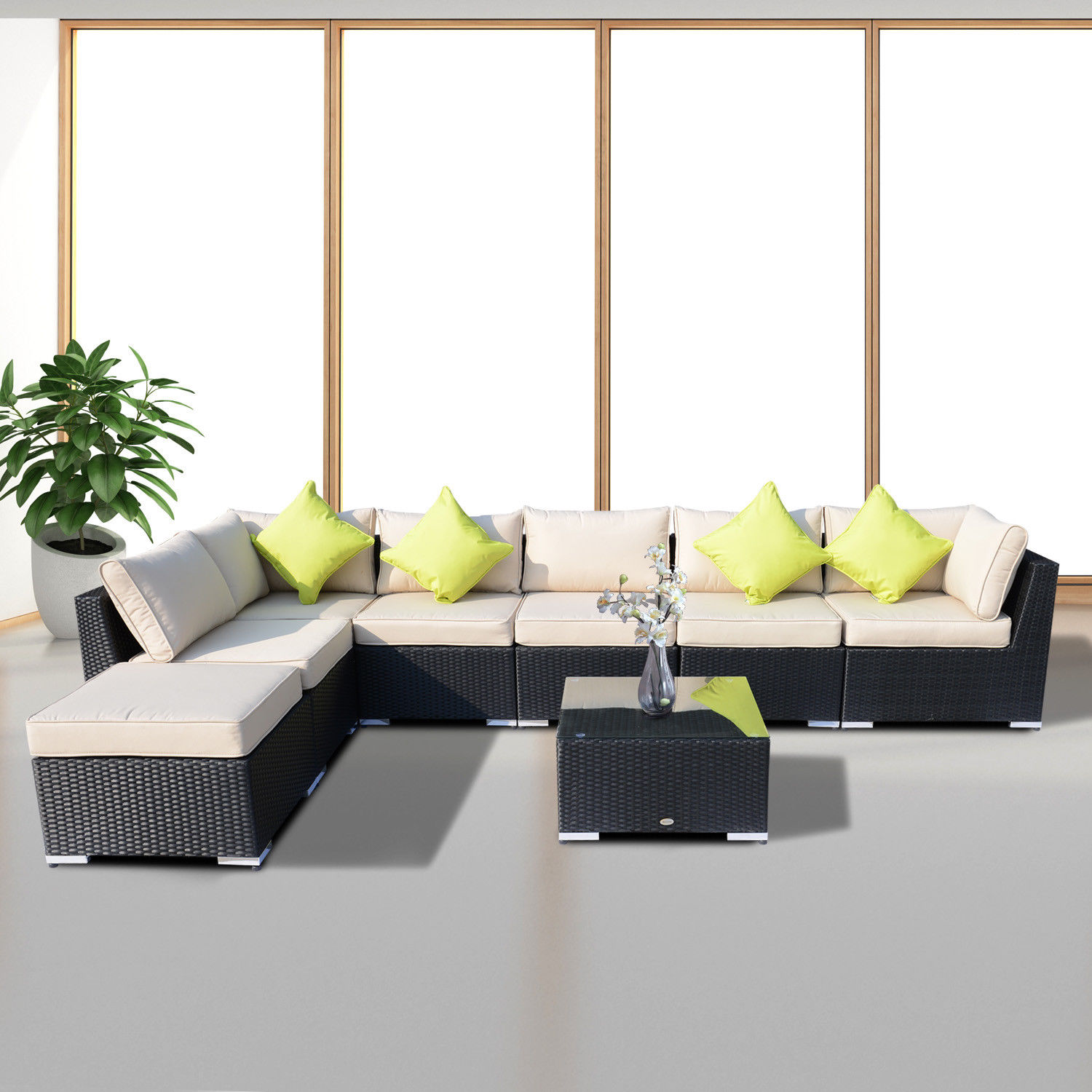 Rattan Corner Sofa Garden Set: Rattan Outdoor Garden Furniture Patio Corner Sofa Set