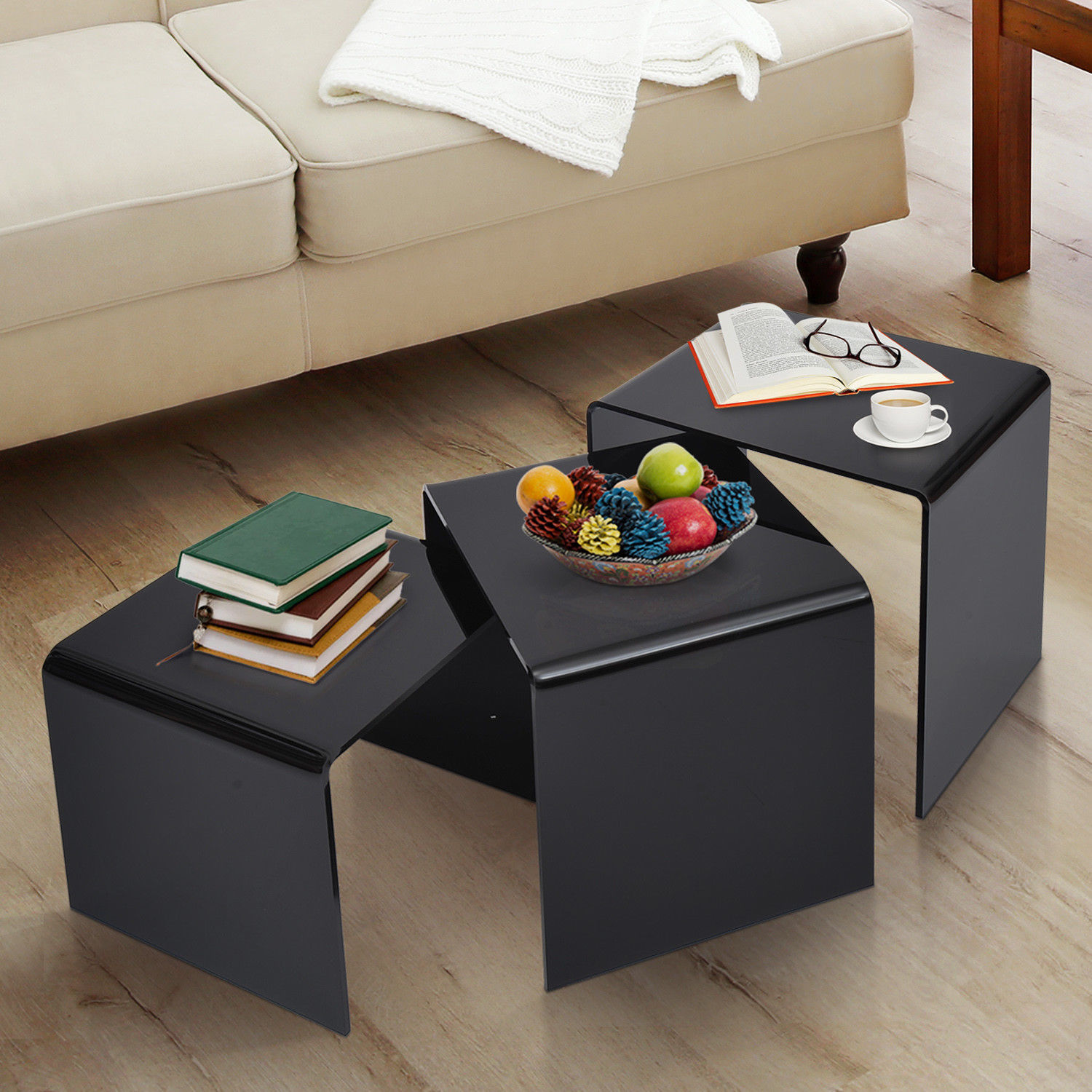 Homcom 3 pcs acrylic perspex nest of tables in black side table picture 2 of 8 watchthetrailerfo