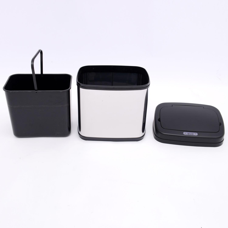 ACCIAIO-Inox-Automatico-Sensore-PATTUMIERA-IMMONDIZIA-SPAZZATURA-CUCINA-CESTINO-NUOVO miniatura 3