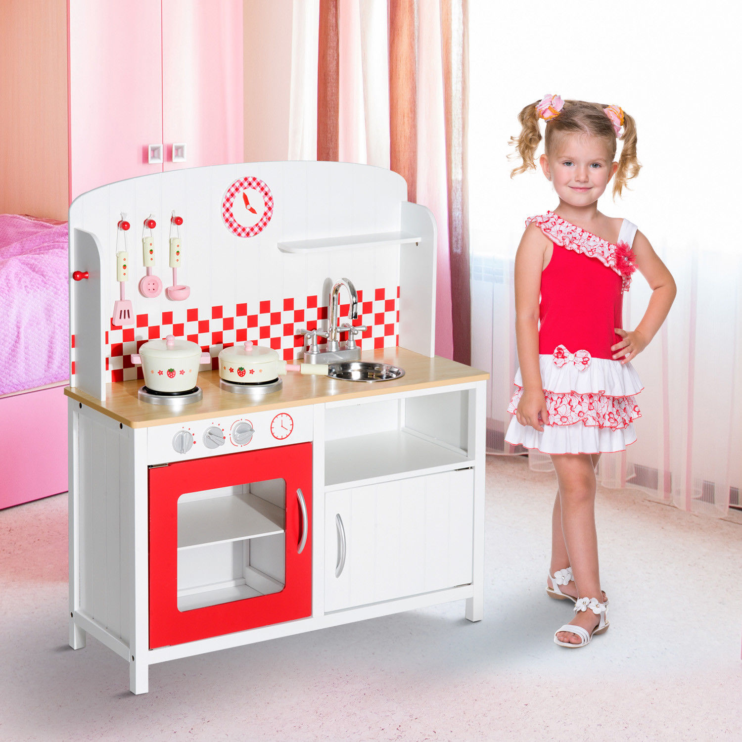 Kids Kitchen Wooden Playset Toy Cooking Roleplay 2 Styles a   eBay