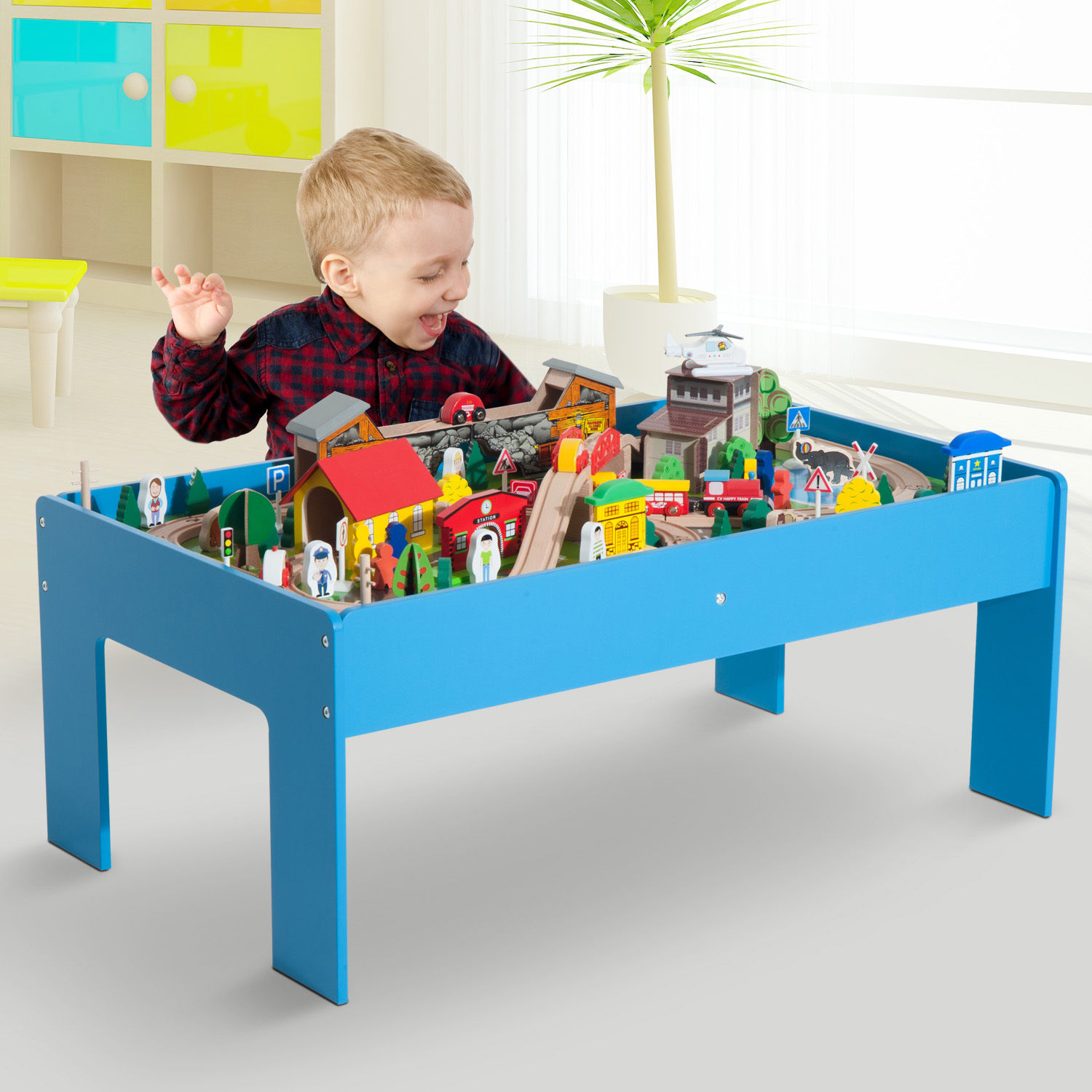 108pc / 83pc Wooden Train Set Table Track Kids Toy Pretend Play ...