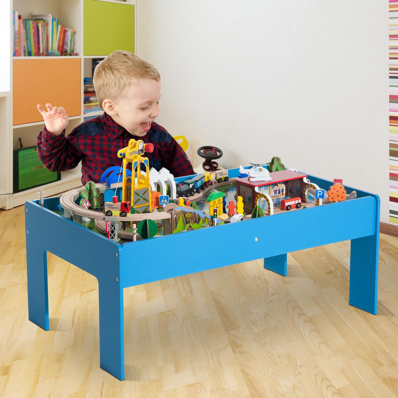 108pc-83pc-Wooden-Train-Set-Table-Track-Kids- & 108pc / 83pc Wooden Train Set Table Track Kids Toy Pretend Play ...