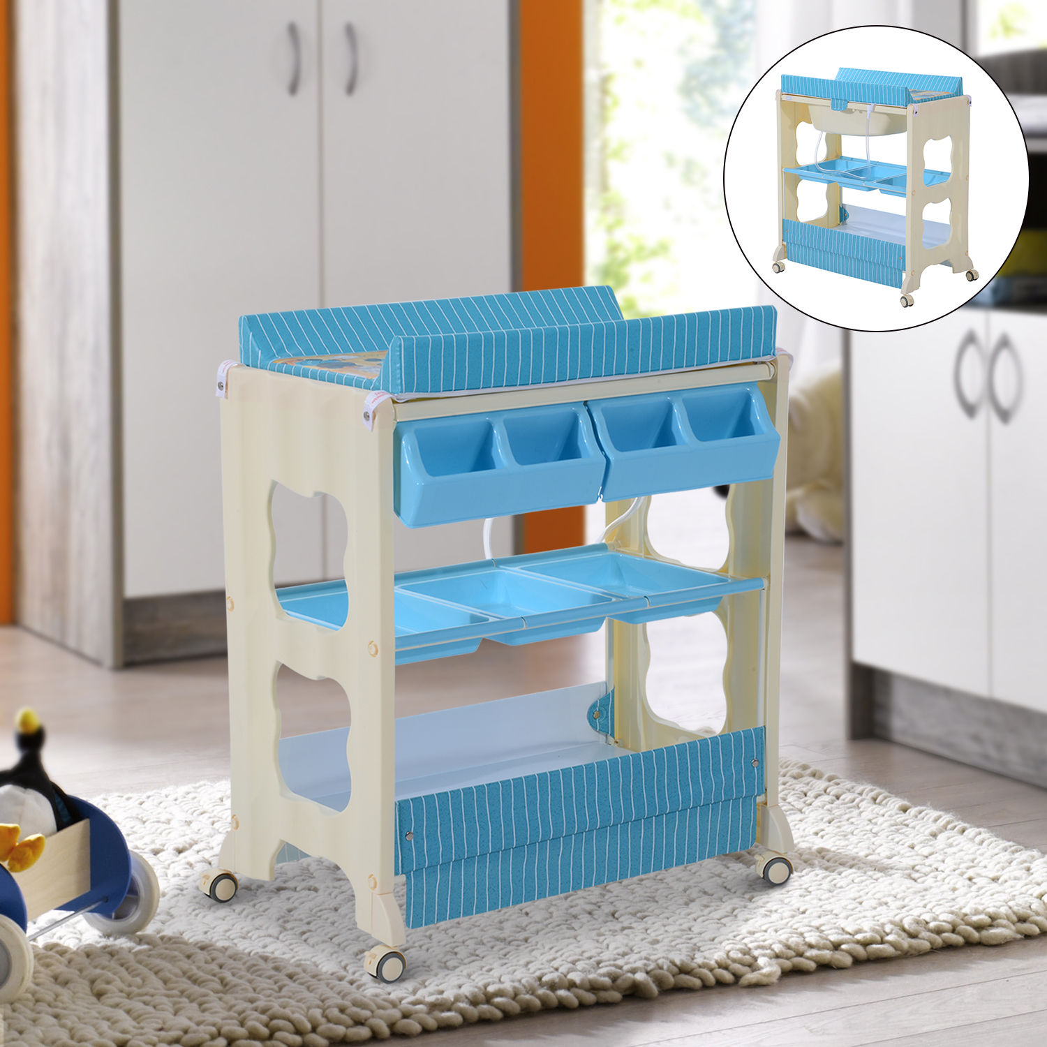 Baby Infant Changing Table Unit Rolling Bath Station