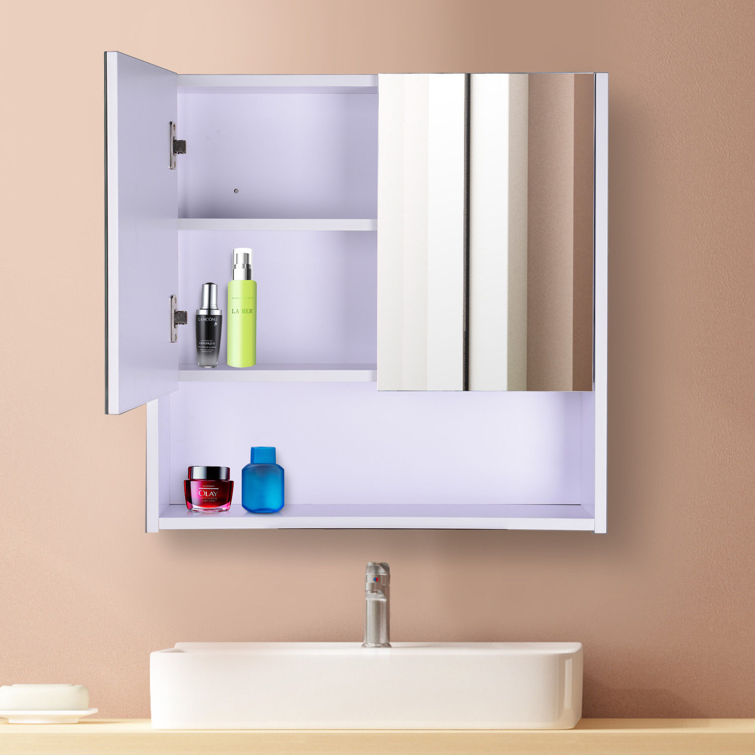 Wall mounted mirror cabinet vanity storage cupboard shelf - Wall cabinet with mirror for bathroom ...