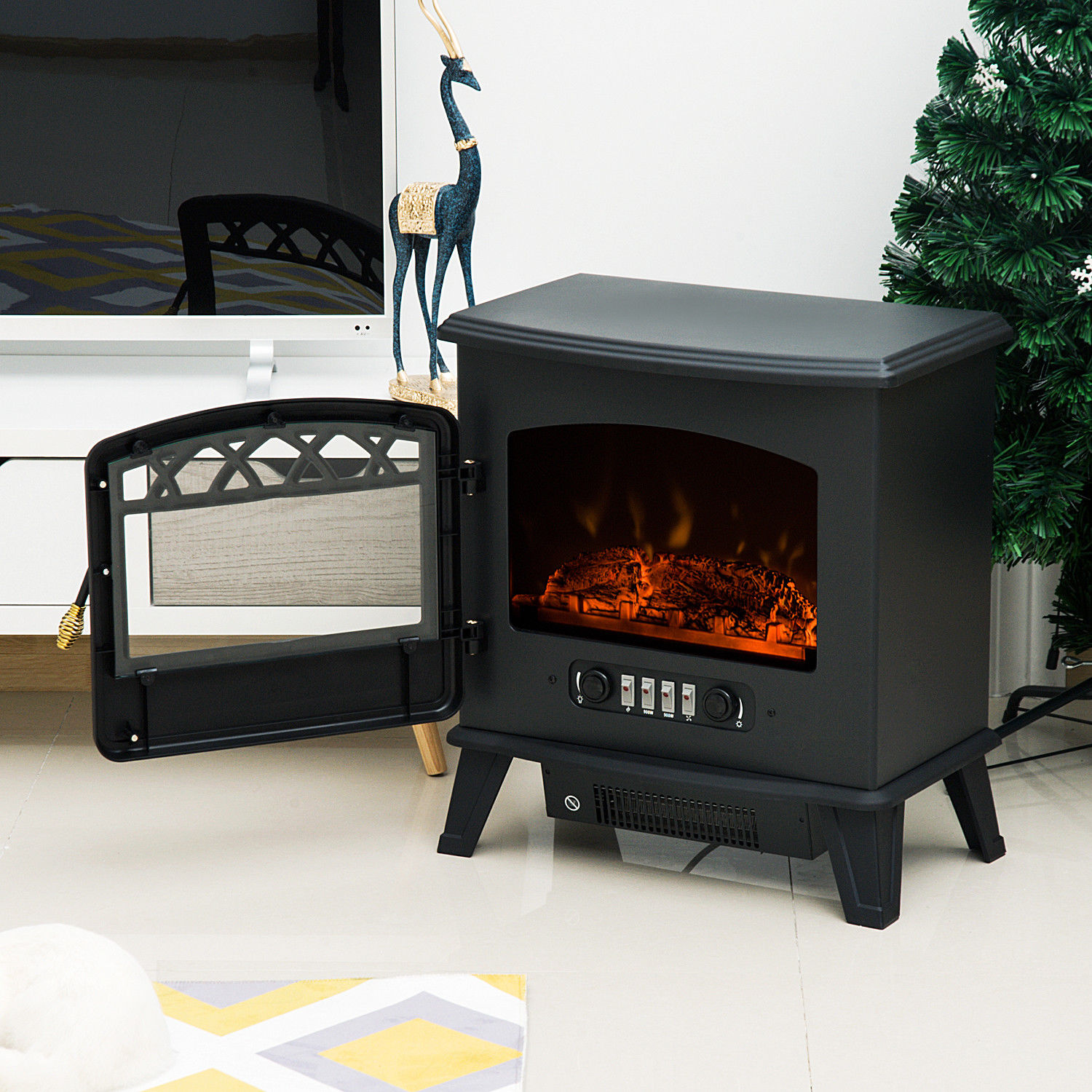 Electric Fireplace Free Standing Fire Effect Heater Log Burning 900