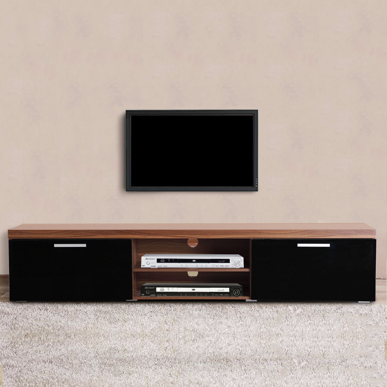 Tv Cabinet Unit 2 High Gloss Doors Black Walnut Entertainment Media