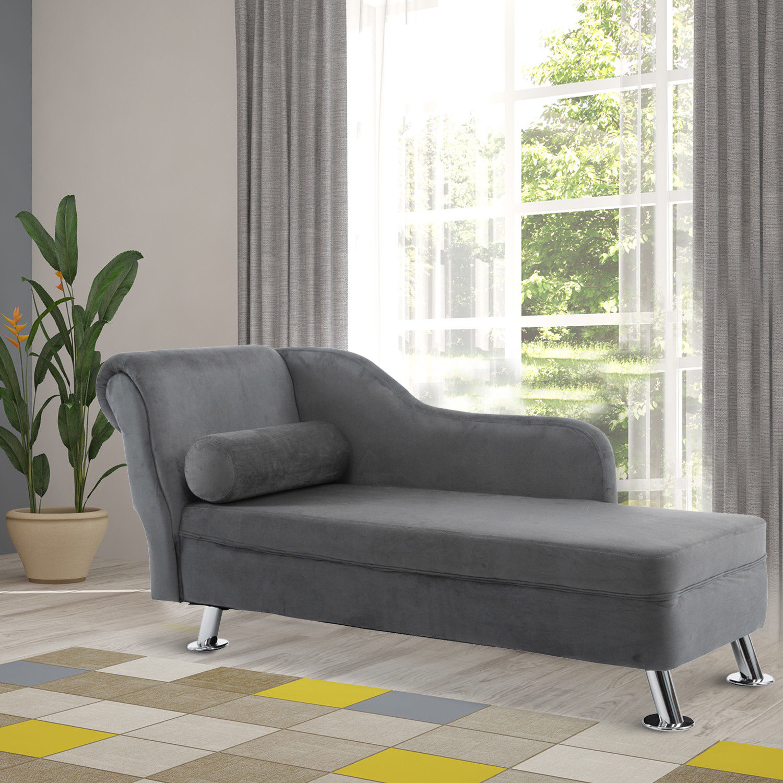 Picture of: Homcom Chaise Longue Vintage Arm Rest Sofa Seat Cushion Sponge Grey Modern 5055974828322 Ebay