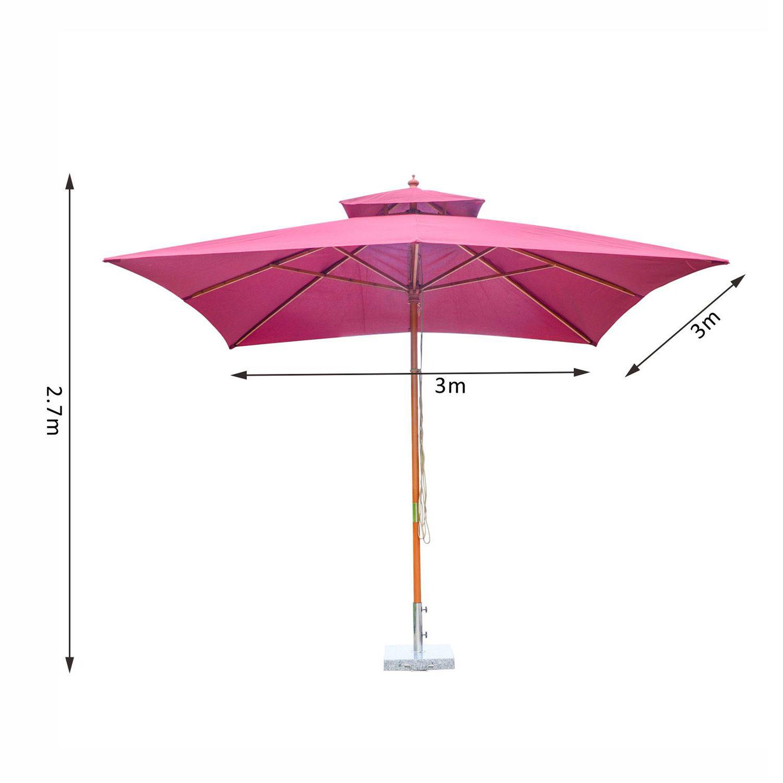 outsunny 3m garden parasol patio bamboo sun umbrella sun shade outdoor canopy ebay. Black Bedroom Furniture Sets. Home Design Ideas