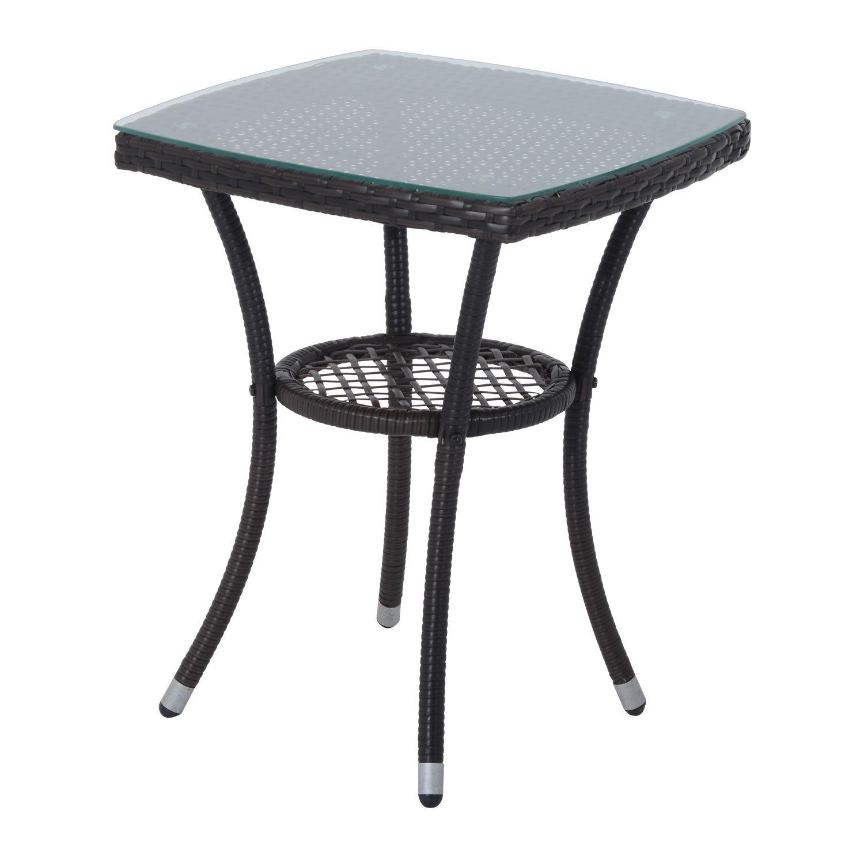 Outsunny 3PC Rattan Furniture Bistro Set Garden Chair ...