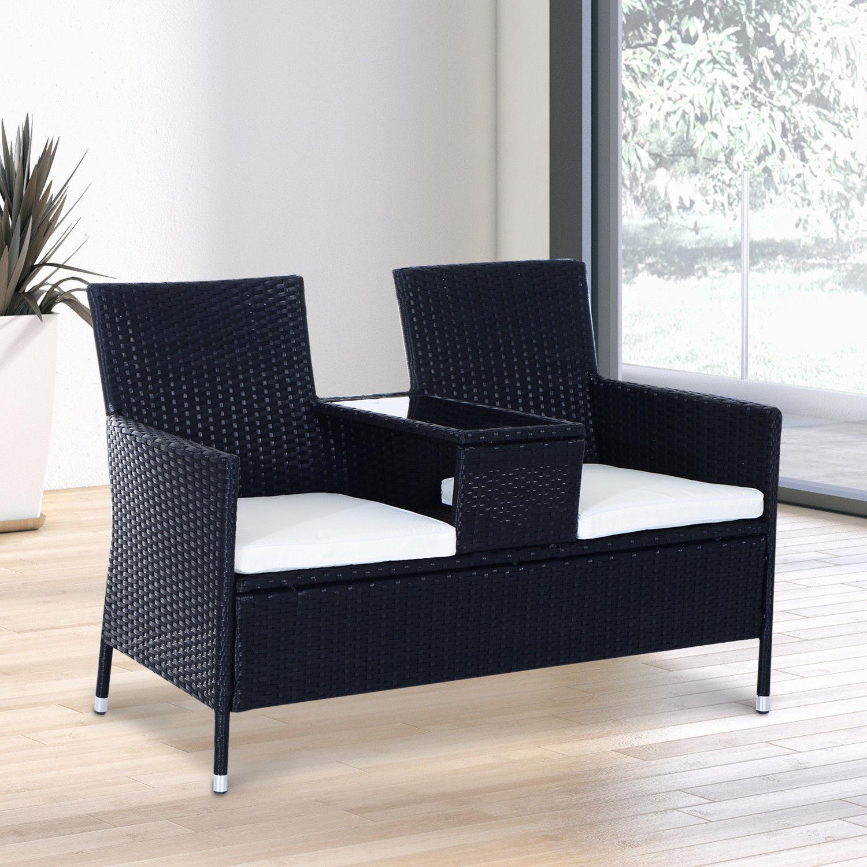 2 Seater Rattan Chair Garden Furniture Wicker Patio