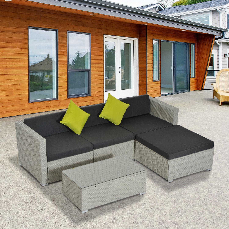 Rattan Outdoor Garden Patio Furniture Lounger Sofa Set
