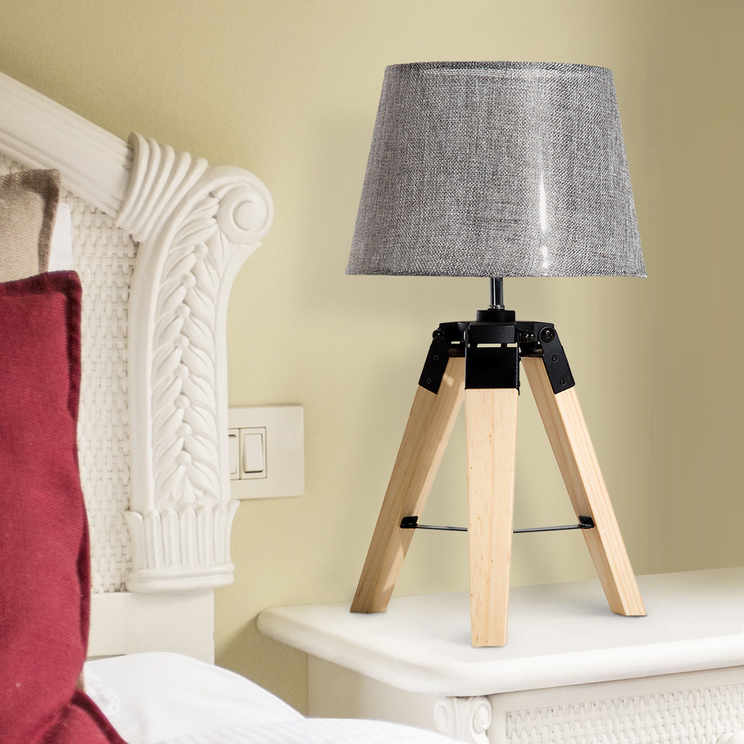 Modern Table Lamp Tripod Wooden Lampshade For Bedroom Bedside Décor 2  Colors; Picture 2 Of 10 ...