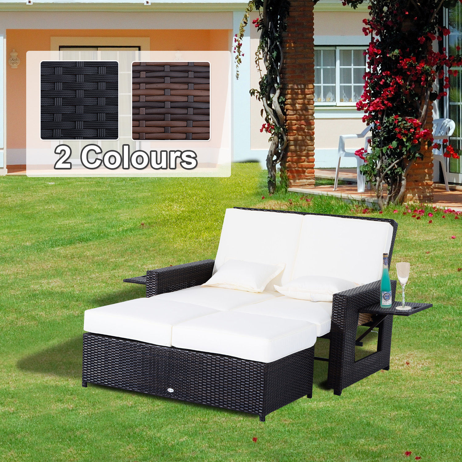 Details about outdoor garden rattan furniture set 2 seater patio sun lounger daybed sunbed new
