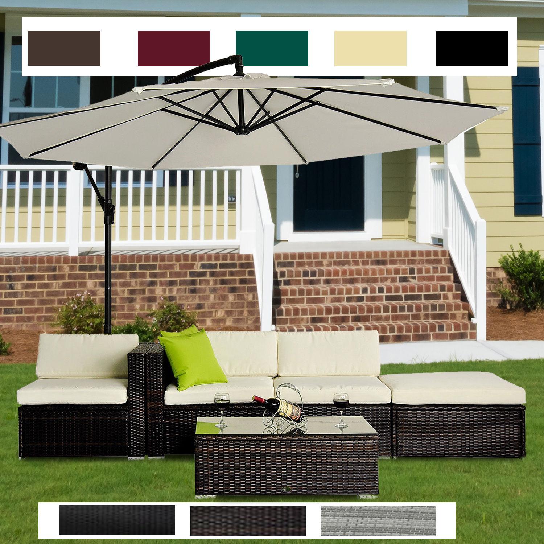 5pc Rattan Wicker Garden Furniture Sofa Set Or 3m Garden Banana Hanging Parasol Ebay