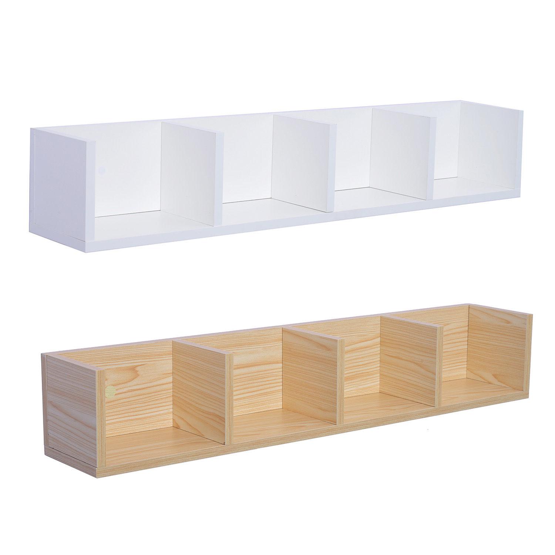 Modern Wall Mount Storage Shelf Cd Media Storage Rack Wooden Unit 4 Cubes Ebay