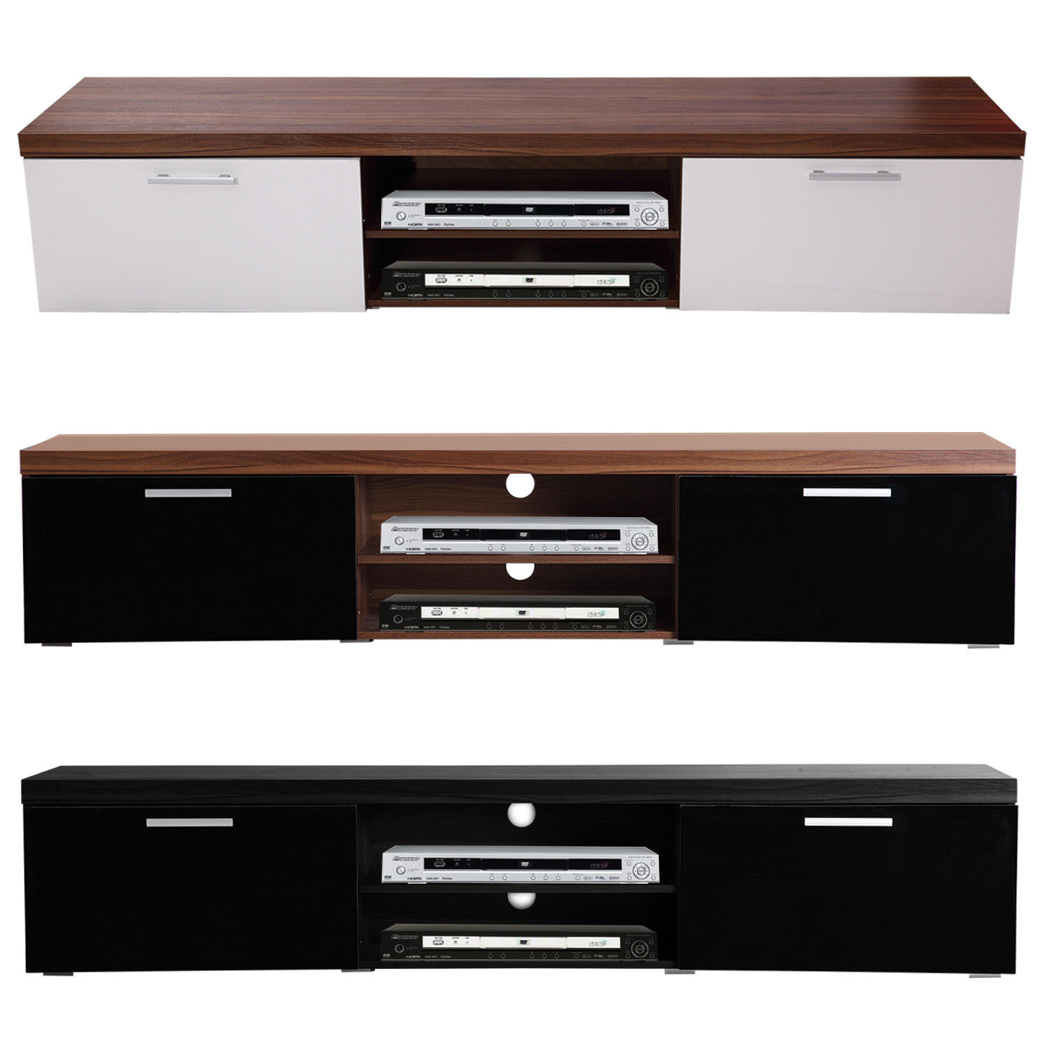 Details about 2 Meter Long 2 Door Modern TV Cabinet Plasma Low Bench Stand  Brand New