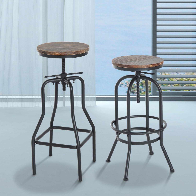 Vintage Bar Stool Metal Wooden Industrial Retro Seat Kitchen ...