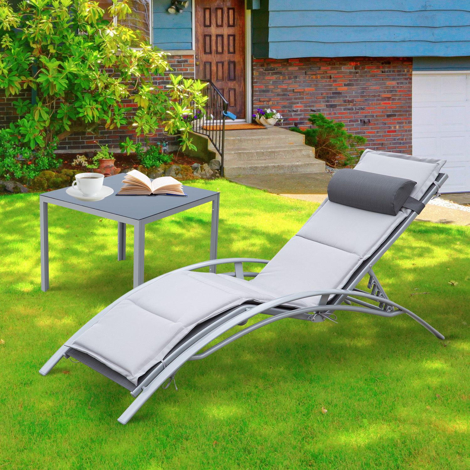 outsunny sonnenliege gartenliege gartenstuhl liege relaxsessel liegestuhl alu ebay. Black Bedroom Furniture Sets. Home Design Ideas
