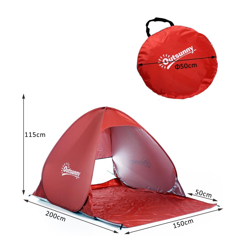 Indexbild 23 - Outsunny-Wurfzelt-Strandzelt-Pop-Up-Zelt-Strandmuschel-Automatisch-Campingzelt