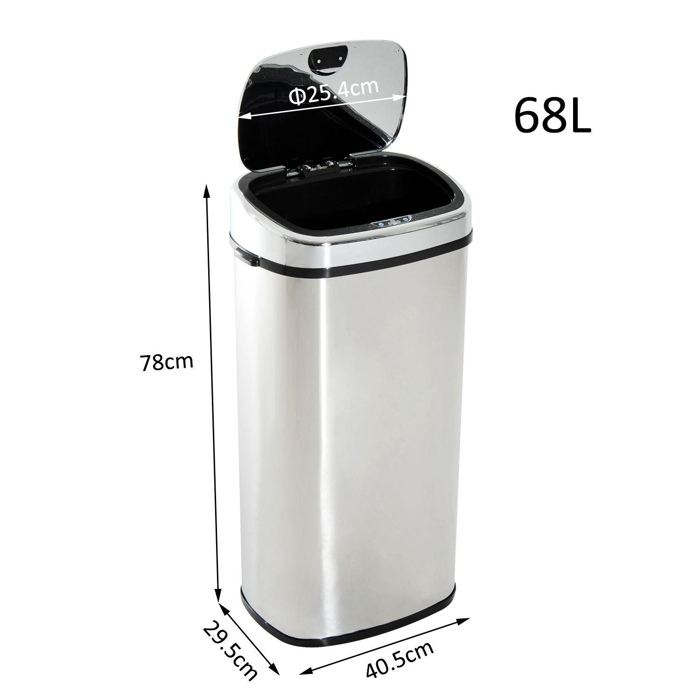 Homcom-Muelleimer-Automatik-mit-Sensor-Abfalleimer-Kueche-Edelstahl-50L-68L-Silber Indexbild 23