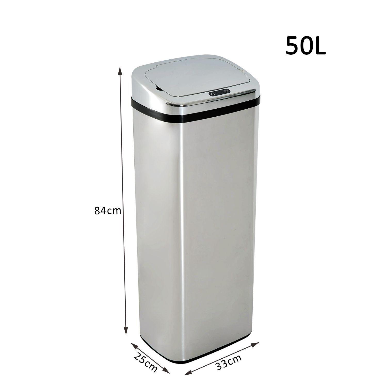 Homcom-Muelleimer-Automatik-mit-Sensor-Abfalleimer-Kueche-Edelstahl-50L-68L-Silber Indexbild 13