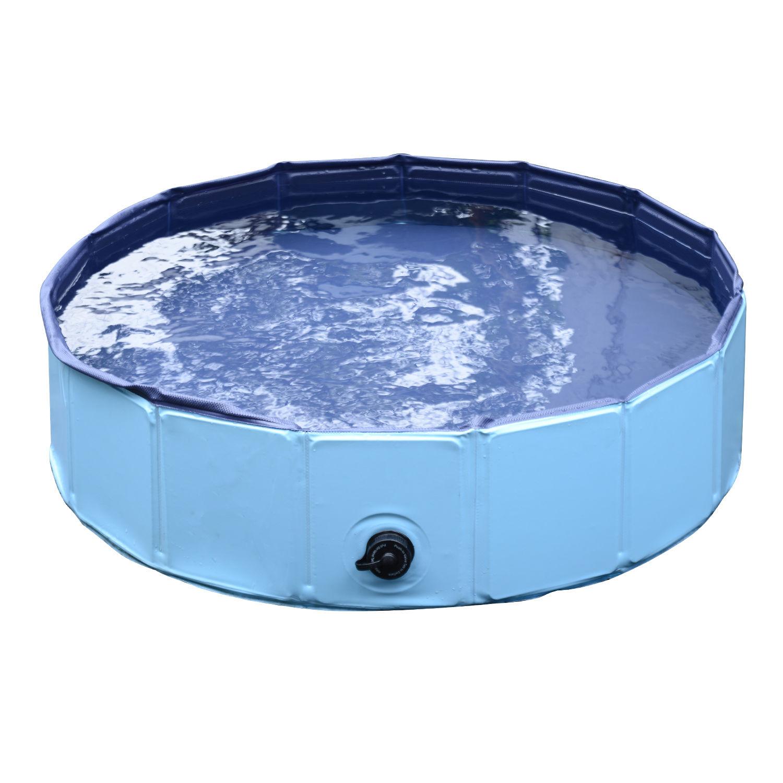 Pawhut-Hundebadewanne-Hundepool-Wasserbecken-Swimmingpool-80-120-160cm-Blau-Rot Indexbild 11