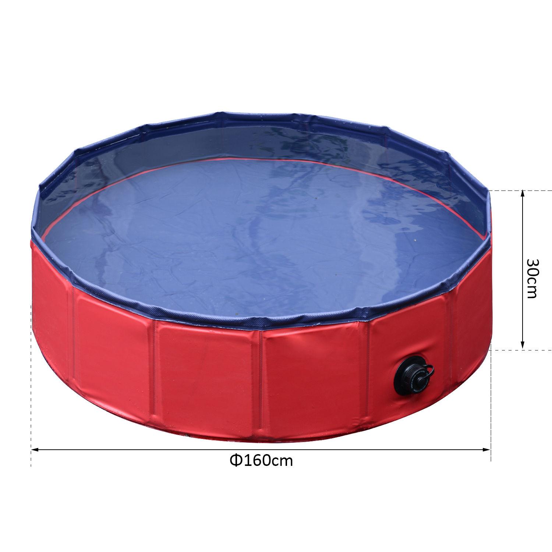 Pawhut-Hundebadewanne-Hundepool-Wasserbecken-Swimmingpool-80-120-160cm-Blau-Rot Indexbild 20