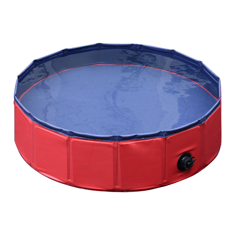 Pawhut-Hundebadewanne-Hundepool-Wasserbecken-Swimmingpool-80-120-160cm-Blau-Rot Indexbild 21