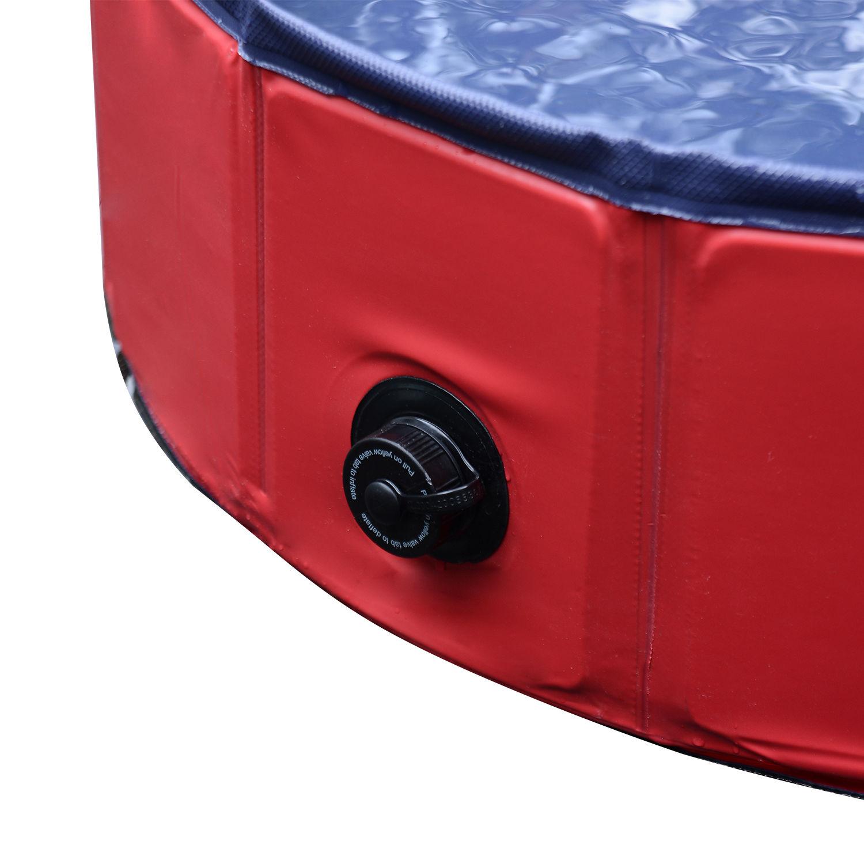 Pawhut-Hundebadewanne-Hundepool-Wasserbecken-Swimmingpool-80-120-160cm-Blau-Rot Indexbild 25
