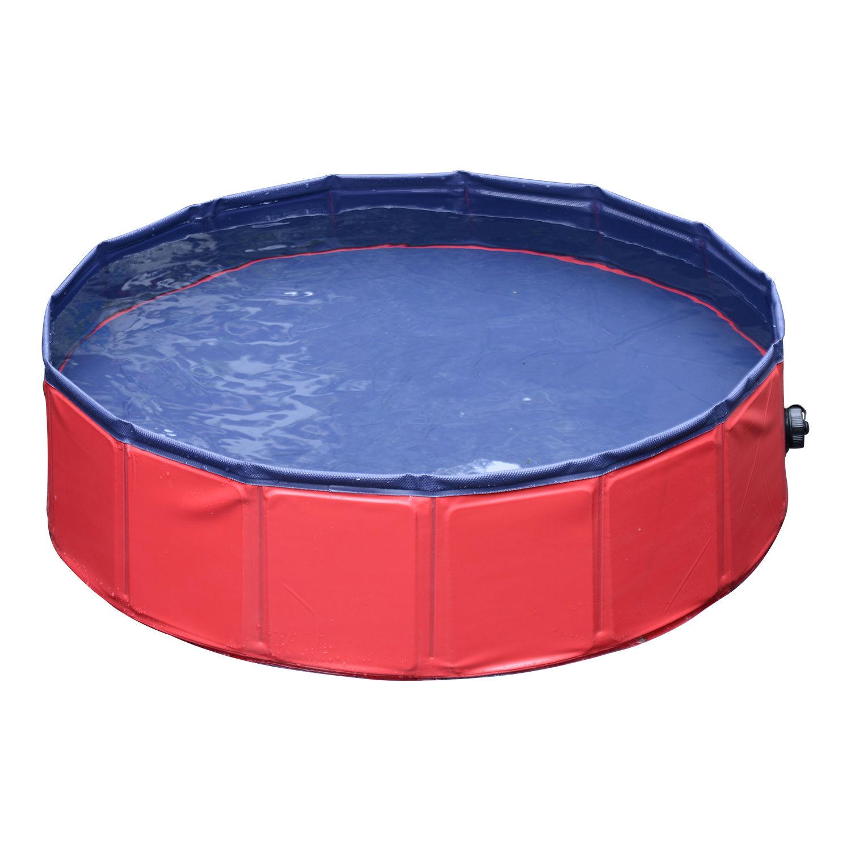 Pawhut-Hundebadewanne-Hundepool-Wasserbecken-Swimmingpool-80-120-160cm-Blau-Rot Indexbild 18
