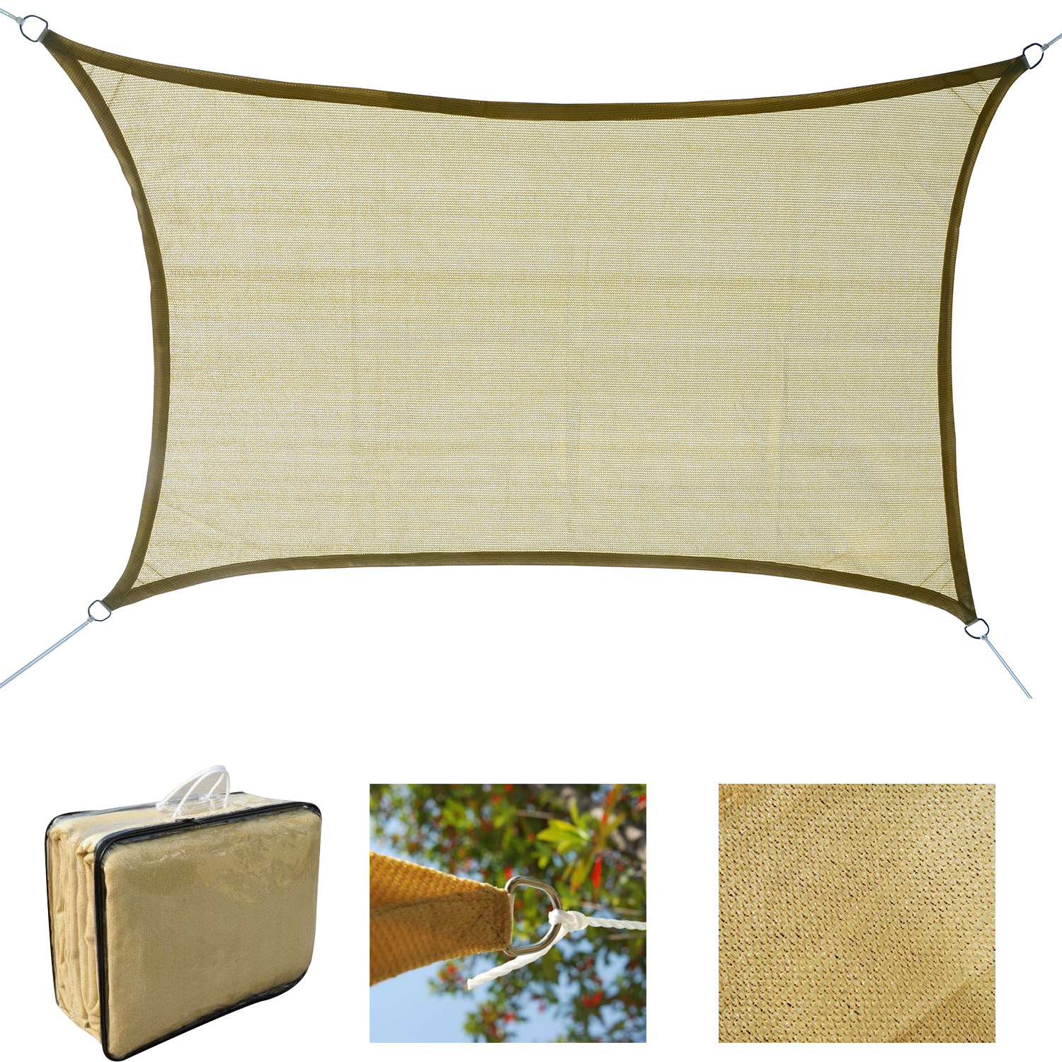Sun-Shade-Sail-UV-Top-Cover-Outdoor-Canopy-Patio-Triangle-Square-Rectangle-w-Bag thumbnail 10