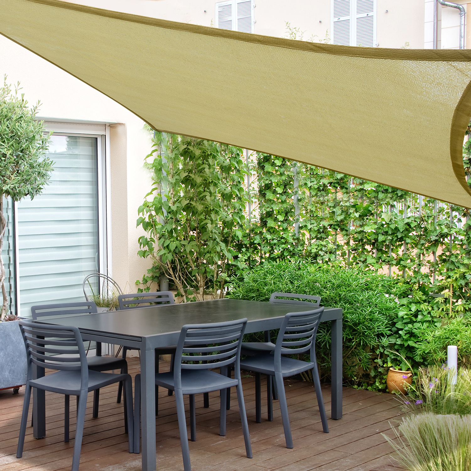 Sun-Shade-Sail-UV-Top-Cover-Outdoor-Canopy-Patio-Triangle-Square-Rectangle-w-Bag thumbnail 9