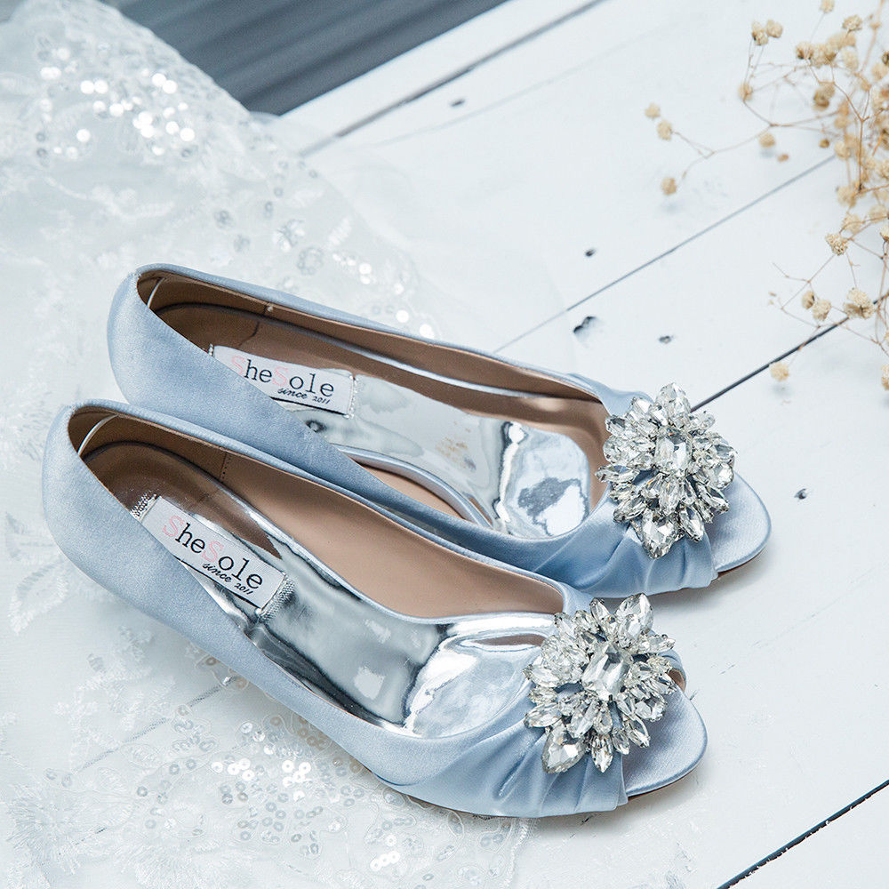 SheSole Womens Low Heels Rhinestone Wedding Prom Shoes Dress Pumps ...