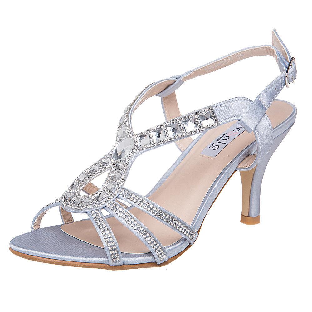 604cdf33d9d5 Shesole Womens Dancing Wedding Shoes High HEELS Dress Sandals Silver ...